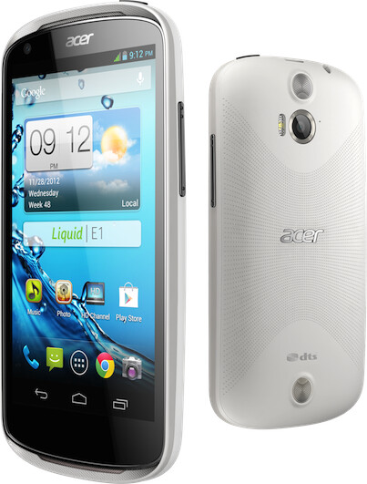 Two shots of the Acer Liquid E1 - Acer Liquid E1 is a midrange Android smartphone