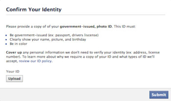 Instagram and Facebook are requesting some users upload the image of a government issued photo ID