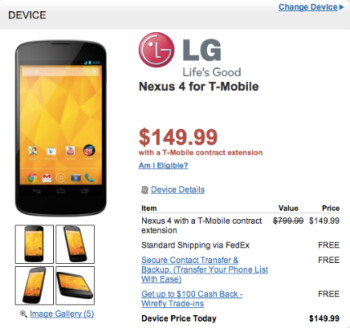 Wirefly has the Google Nexus 4 on contract for $149.99