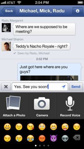 Facebook for iPhone updated with video recording, voice messaging