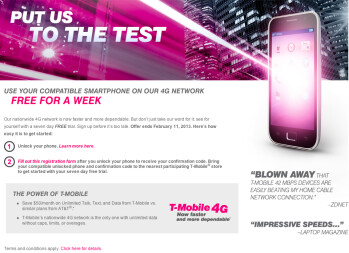 T-Mobile is offering residents of Las Vegas and Seattle a chance to test its 4G service free for one week