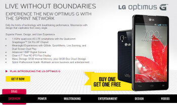 Sprint is offering the LG Optimus G on a buy one get one free deal