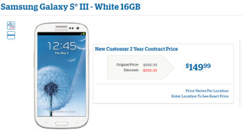 U.S. Cellular has the Samsung Galaxy S III for just $149.99 on contract
