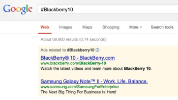 Samsung now has Galaxy series ads for those searching for #Blackberry10