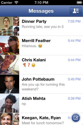 Screenshot from the iOS version of Facebook Messenger
