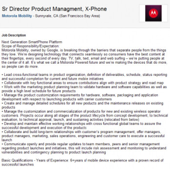 Motorola seeks a Product Manager for the Motorola X