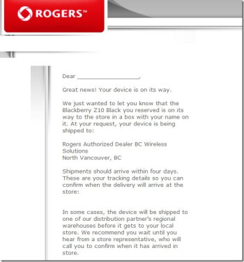 Rogers is shipping the BlackBerry Z10 to its stores