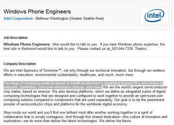 Intel seeks Windows Phone Engineers