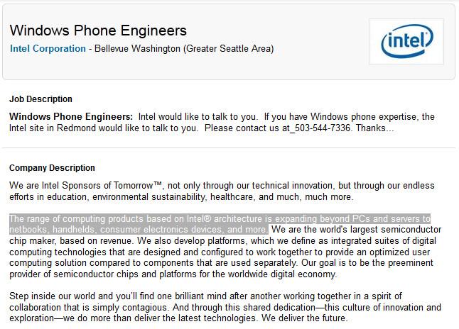 Intel seeks Windows Phone Engineers - Intel might produce an x86 Windows Phone as company seeks engineers familiar with the platform