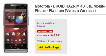 The Platinum version of the Motorola DROID RAZR M is just $49.99 from Best Buy