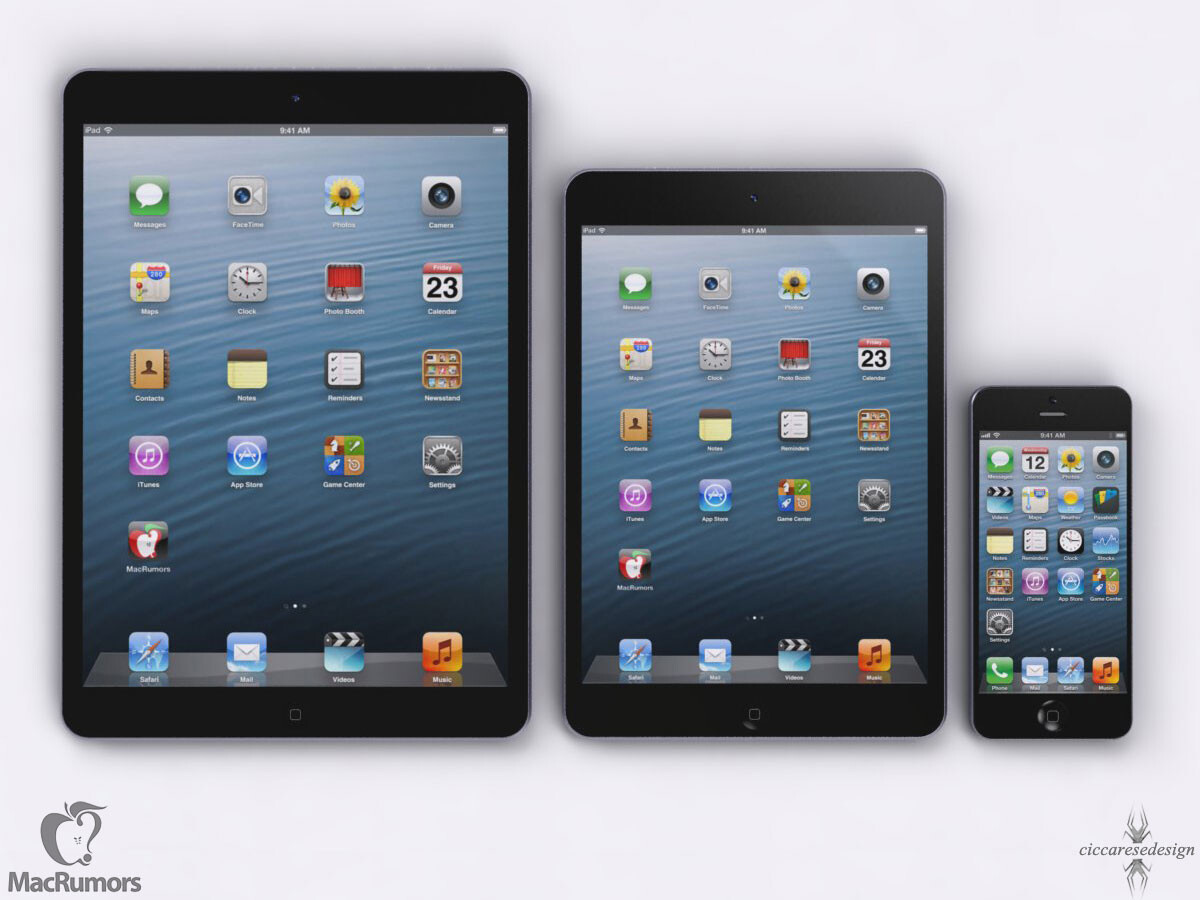 new ipad 5 concept renderings size it up with the ipad. Black Bedroom Furniture Sets. Home Design Ideas