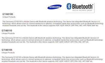 The three versions of the Samsung Galaxy Note 8.0 appeared on the Bluetooth SIG