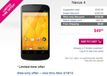 The Google Nexus 4 is on sale for $49.99 online, from T-Mobile