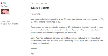 Vodafone is trying to alert its customers before they install iOS 6.1 on their Apple iPhone 4S