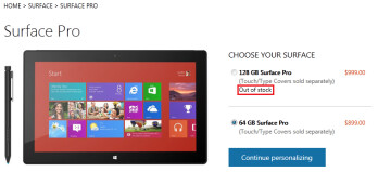 The Microsoft Surface Pro is sold out at Microsoft's U.S. online store