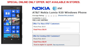 Buy the Nokia Lumia 920 for just one thin cent
