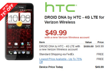 The HTC DROID DNA is $49.99 for next two year accounts at Verizon