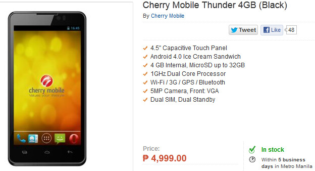 The Cherry Mountain Thunder is just $125 USD - The Cherry Mobile Thunder is no desert, but is an Ice Cream Sandwich flavored Android phone