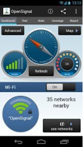 Screenshots from the OpenSignal app