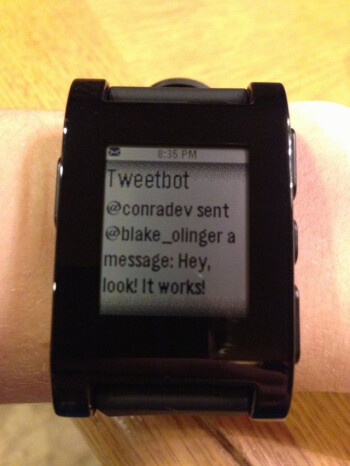 The tweet from Kramer (R) reveals the hack that allows all iOS notifications on the Pebble (L)