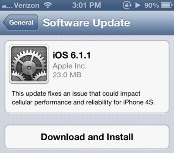 iOS 6.1.1 appears to cut battery life and makes the Apple iPhone 4S run hot