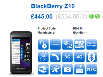 An unlocked BlackBerry Z10 will be available on March 1st from Clove