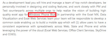 Microsoft mentions Windows Phone Blue in a job listing