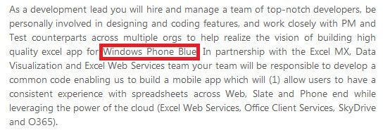 Microsoft mentions Windows Phone Blue in a job listing - Window Phone Blue update leaked from job posting