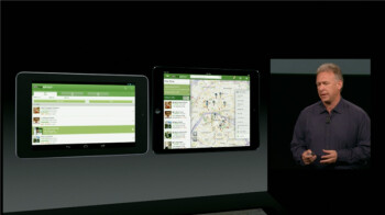 Phil Schiller shows off an optimized iPad app vs. an Android app