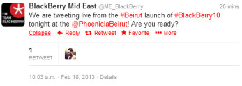 BlackBerry Mid East is ready for Monday's BlackBerry Z10 launch in Beirut