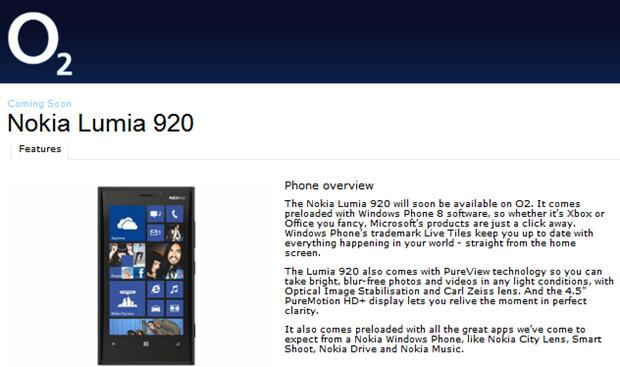 "O2 says Nokia Lumia 920 is ""coming soon"""