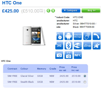 Pre-order the HTC One from Clove