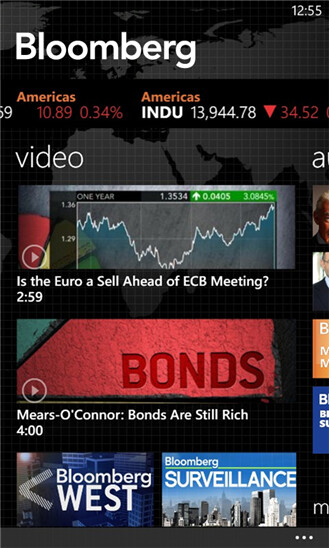 Screenshots from the official Bloomberg app