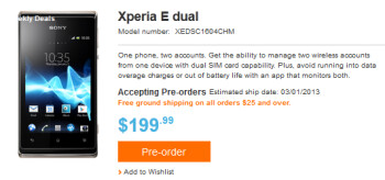 Sony is taking pre-orders on the Sony Xperia E dual