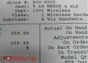 A leaked document shows a $359.99 price for the Google Nexus 4 for The Source