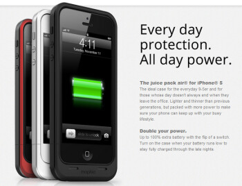 The Mophie Juice Pack Air doubles the battery life on your Apple iPhone 5