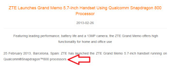 ZTE continues to tout the Snapdragon 800 for the Grand Memo
