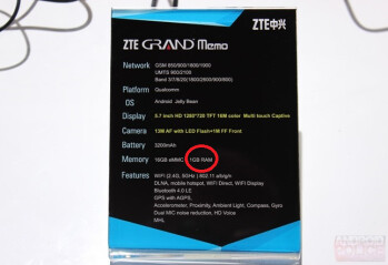 ZTE's own spec sheet shows an unnumbered Qualcomm processor and 1GB of RAM
