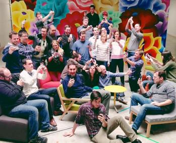 The Instagram team celebrates 100 million users