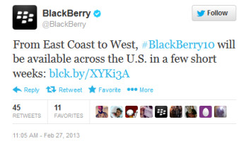 BlackBerry says that the Z10 is coming to the U.S.