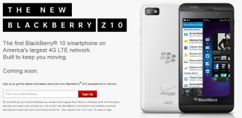 Register with some U.S. carriers to receive news about the BlackBerry Z10