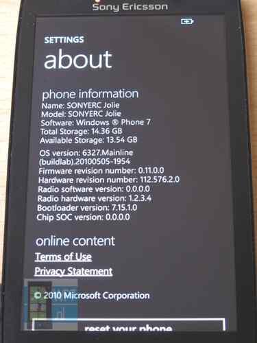 "Sony Ericcson Windows Phone ""Jolie"""