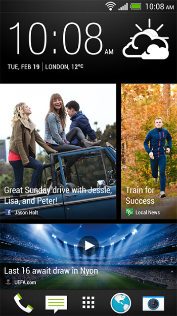 The new BlinkFeed screen brings you your social networks and news feeds