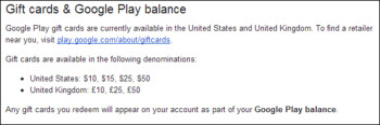 Support page reveals information on U.K. Google Play gift cards