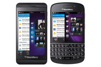 The BlackBerry Z10 (L) and the upcoming BlackBerry Q10