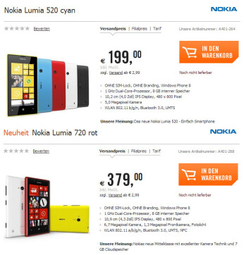 Nokia Lumia 720 and Lumia 520 get a price tag in Germany