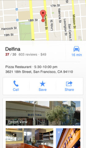 Screenshots of Google Maps for iPhone