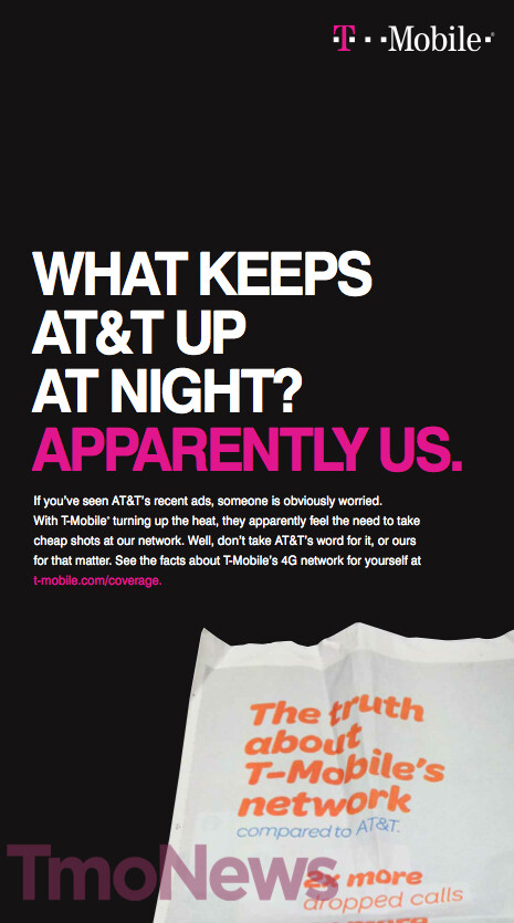 T-Mobile strikes back AT&T with newspaper ads