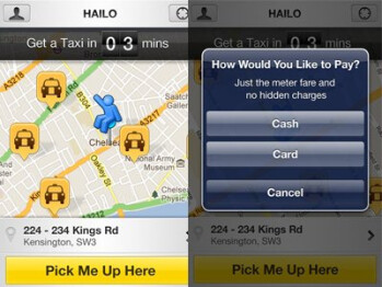 Screenshots for Hailo, an app used to hail a cab in cities like Boston and Chicago