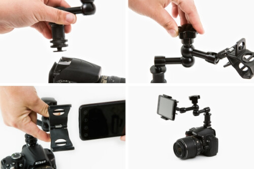 Look Lock will hold your smartphone to a dSLRs so you can use them both at the same time